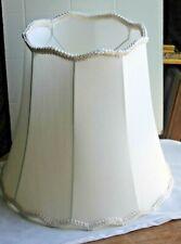 Elegant Large Scalloped Bell shape White Fabric lamp shade with Fringe  trim