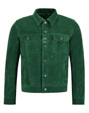 Men's Trucker Leather Jacket Green Suede Casual Fashion Shirt Style Jacket 1280