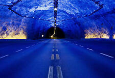 Framed Print - Spooky Blue Effect Road Tunnel at Night (Picture Poster Art)