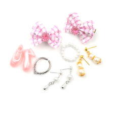 Jewelry Necklace Earring Comb Shoes Crown Accessory For Barbie Dolls Set@@
