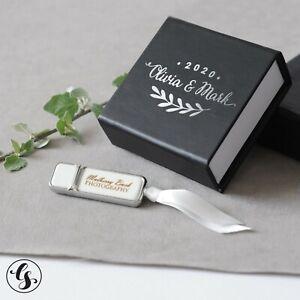 USB Flash Drive & Box - Custom Personalized Wedding Photograph Engraved Silver