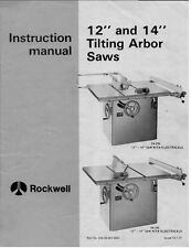 "Delta Rockwell 12"" and 14"" Tilting Arbor Saws Instructions"