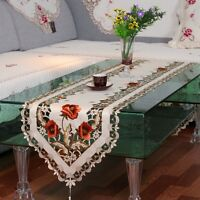 Retro Table Runner Embroidered Floral Tasseled Edge Home Tablecloth Dining Cover