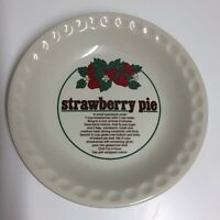 Vintage Mount Clemens Strawberry Pie Plate Recipe Baking Dish Plate 26cm Picture