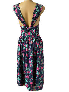 Laura Ashley 1980s MIdi Dress Bow Back Floral Boho, Made In The U.K. Vintage 10