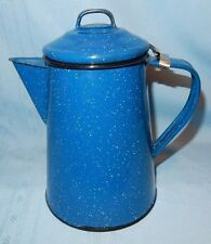 Blue Speckled Enamelware Coffee Pot No Insides Camping Cookout