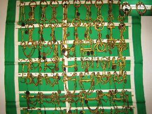 Vintage Hermes Silk Scarf Mors et Filets Green