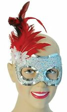 Silver Red Masquerade Ball Carnival Sequin Feather Mask Fancy Dress NEW P6469