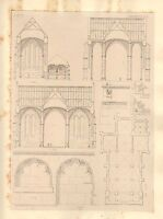 1858 Grande Arquitectura Estampado Osnabruck Catedral Medievales Gótico Art