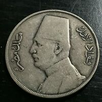 1929 EGYPT SILVER 20 PIASTRES KING FUAD CROWN COIN SCARCE ISSUE