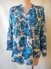 Millers size 20 blue white print top long sleeve