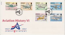 Unaddressed Jersey FDC First Day Cover 1997 Aviation History VI Airport Set