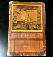 WWII 1943 Rand McNally Color World Atlas Leather Bound Hardcover