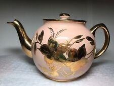 VINTAGE ENGLAND'S SADLER STAFFORDSHIRE TEA POT #1314 PINK & GOLD ACCENTS