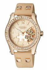 Rebel Women's RB111-8151 Gravesend Crystals Puzzel-Piece Dial Tan Leather Watch