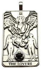 Lovers Tarot Card Pendant .925 Sterling Silver w/ Natural black star diopside
