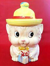 Vintage Mid-Century Kitsch Cat Ceramic Cookie Jar Yellow Hat Tie Present Japan