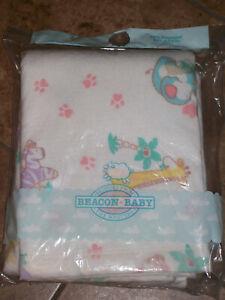NEW Vintage Beacon Baby Blanket USA 36X45 Pastel Zoo Animals Pink Paw Print NIP