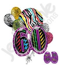 7 pc Still Wild at 60 Happy Birthday Colorful Zebra Print Balloon Bouquet 60th