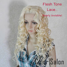 Hand-Tied Flesh Lace Front Synthetic Full Wigs Long Wavy Light Blonde 99#613 (F)