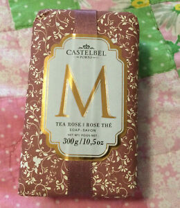 "Castelbel Portugal 10.5 oz Tea Rose Soap With Initial ""M"""