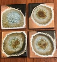 "Pottery and Fused Glass ""Geode"" Coasters Set Of 4 Dock 6 Pottery Handmade USA"