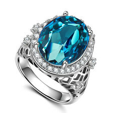 Fashion Women Oval Cut 2.85ct Aquamarine 925 Silver Party Ring Size 8