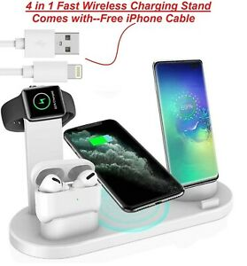 Wireless Charger Fast Charging Stand 4in1 For iPhone 12 11 Pro Max + FREE CABLE