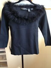 Dana Buchman Petite Solid Black Sweater Size Petite Feather Plume Neckline Box 2