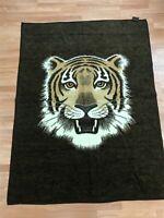 """Vintage Biederlack Tiger Head Blanket Brown Ivory Reversible 57"""" x 75"""" USA Made"""