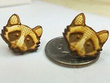 Raccoon Wood Stud Earrings w/ Stainless Steel Pierced Posts Homemade