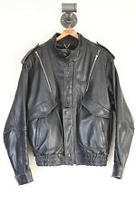 VTG Yamaha Leather Jacket Motorcycle Moto Size 44 Biker Talon Zippers Black