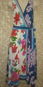 MAEVE BY ANTHROPOLOGIE LINED FLORAL DRESS SIZE 2 BELTED SHARK TOOTH HEM FLOWING