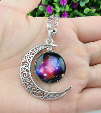 Hot Colorful Galaxy Glass Hollow Moon Shape Pendant Silver Tone Necklace xl2