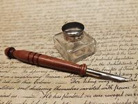 Antique Style Small Square Clear Inkwell Ink Pot with Wood Dip Calligraphy Pen