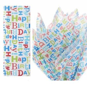 3- Hallmark Cool Happy Birthday Tissue Paper 6 Sheets Lot 3 Boy Blue Dad Father