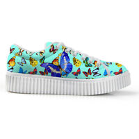 Woman 4cm High Shoes Butterfly Blue Casual Sneakers Girls Lace-up Creeper Pumps