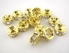 30 Gold Plated Rondelles Rhinestone Spacers Beads 6mm