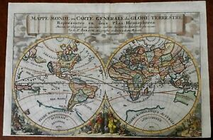 World Map in Double Hemispheres California as an Island c.1699 Sanson color map