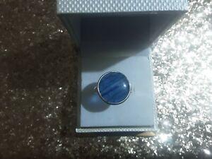 925 sterling silver large round kyanite ring sz 10.5