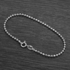 Genuine 925 Sterling Silver 2mm Diamond Cut Ball Bead Bracelet / Anklet