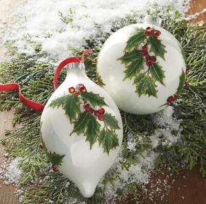 "NEW 2020 Raz 5"" Green Holly Leaf Glass Christmas Ornament 4024524"