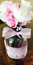 baby shower Decorations , Centerpiece Pink Burlap & Lace Rustic 32oz Mason Jar