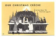Our Christmas Creche Postcard Vintage Nativity See Story Book We Trust God
