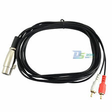 3m 10ft XLR 3-pin Female to Dual RCA Male Plug Adapter Y Audio Amp Speaker Cord