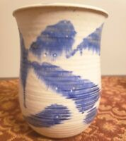 """Art Pottery Vase With Deep Blue Over Glaze 6"""" Tall Signed By Artist"""