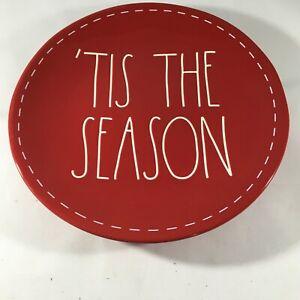 "Rae Dunn Tis The Season Red 8"" Salad / Serving Plate Artisan Collection Magenta"