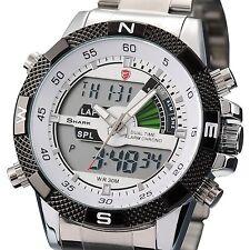 Shark LCD Digital Steel Analog White Dial Men's Army Sport Quartz Military Watch