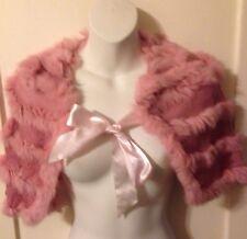 New Women's Retro Vintage Pinup Joia Pink Rabbit Fur Capelet Size S/M