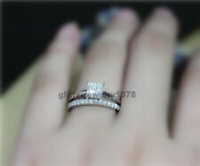 In 925 Sterling Silver Wedding RingSet New listing 1.25ct Princess Cut Near White Moissanite